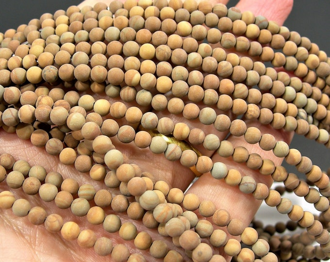 Wood Jasper matte - 4 mm round beads -  full strand - 92 beads - RFG106