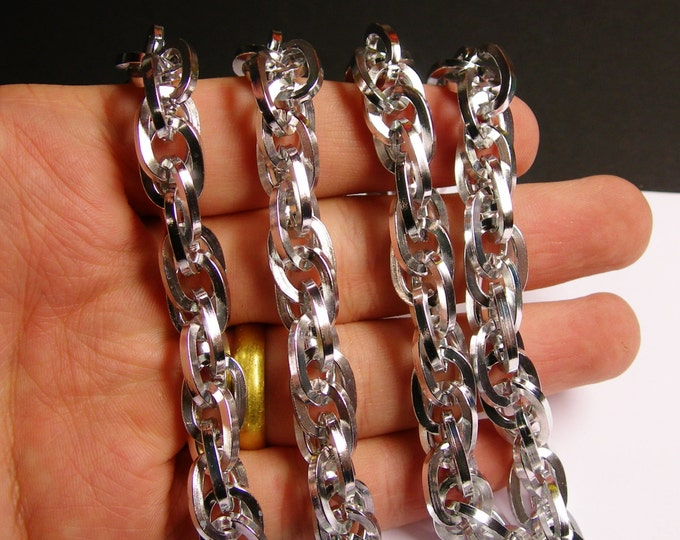 Silver chain  - lead free nickel free won't tarnish - 1 meter-3.3 feet  - made from aluminum - chain maille - NTAC32