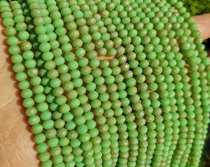 Crystal faceted rondelle - 97 pcs - 6 mm - full strand - Dual tone lime green - GSH85