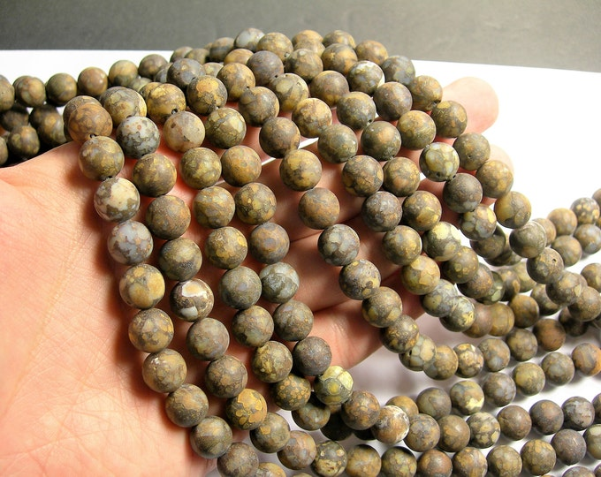 Fire Lace Opal - 10mm round beads - Matte - full strand - 39 beads - RFG1407