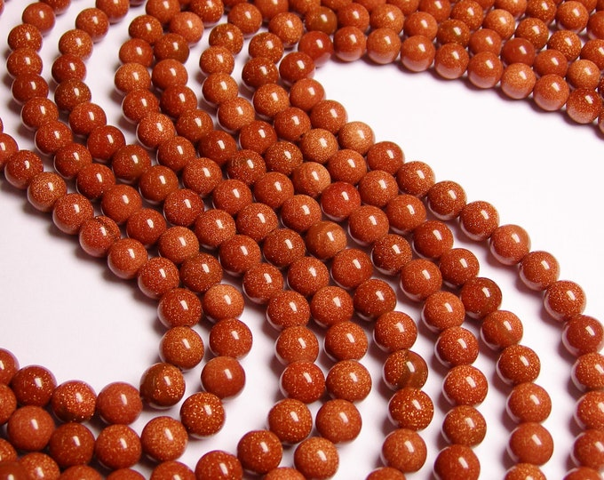 Goldstone - 8mm round - full  strand - A quality - 48 beads per strand - WHOLESALE DEAL - RFG116