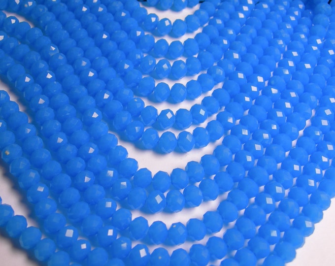 Crystal faceted rondelle - 68 pcs - 8 mm - A quality - full strand - aqua  blue - GSH36
