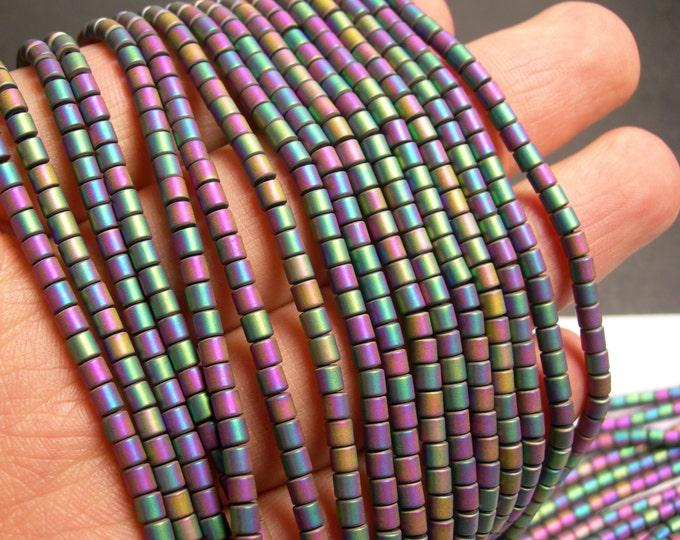 Hematite rainbow matte  - 3x3mm tube beads - full strand - 132 beads - AA quality - PHG151