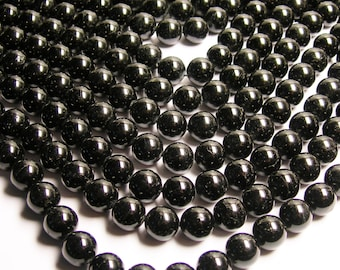 Black tourmaline - 14mm round beads -1 full strand - 28 beads - Ab Quality - RFG167