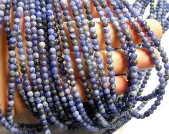 Sodalite matte - 4 mm round beads - 1 full strand - 92 beads - Matte sodalite A quality -RFG1097