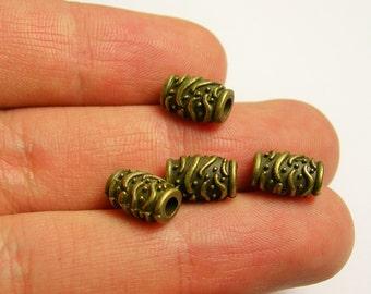 Tube beads - 50 pcs - antique bronze textured tube beads - brass tube - BAZ110