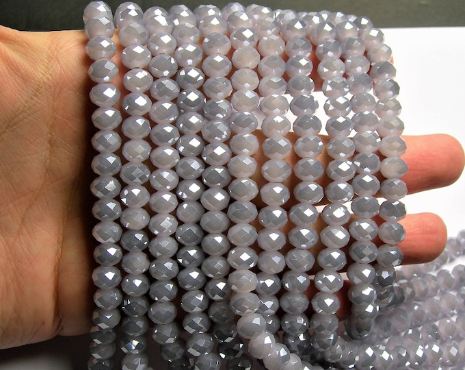 Crystal faceted rondelle - 72 pcs - 8 mm - AA quality - full strand - Lavender grey - GSH74
