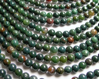 Bloodstone - 6mm round beads -1 full strand - 66 beads - A quality - RFG195