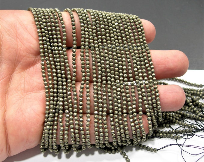 Pyrite 2mm - faceted round beads - 1 full strand - 167 beads - Pyrite - micro faceted - PG94