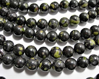 Black Rhyodacite - 10 mm round beads - full strand - 39 beads - A quality - RFG1530A