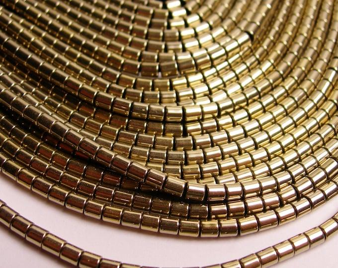 Hematite gold - 3mm tube beads - full strand - 130 beads - AA quality - 3x3 - light gold -  PHG78