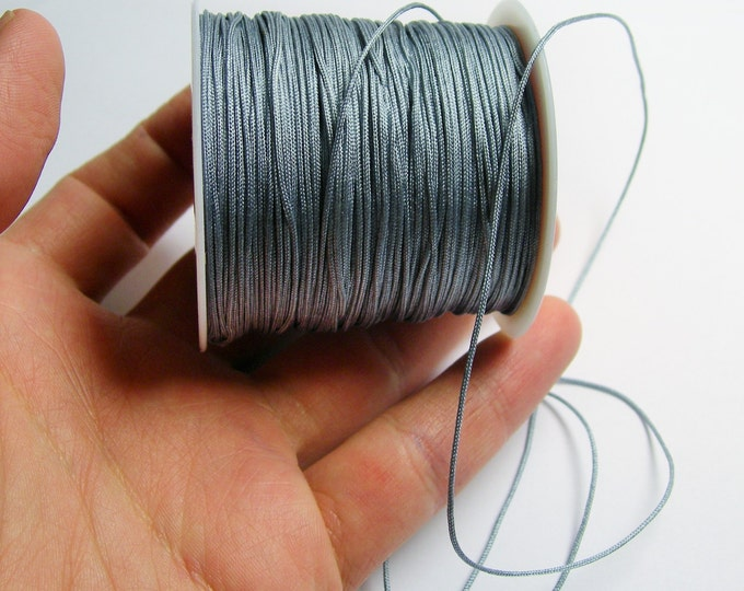 Nylon Cord - knotting/beading cord - 1mm - 70 meter - 230 foot - Grey - N10