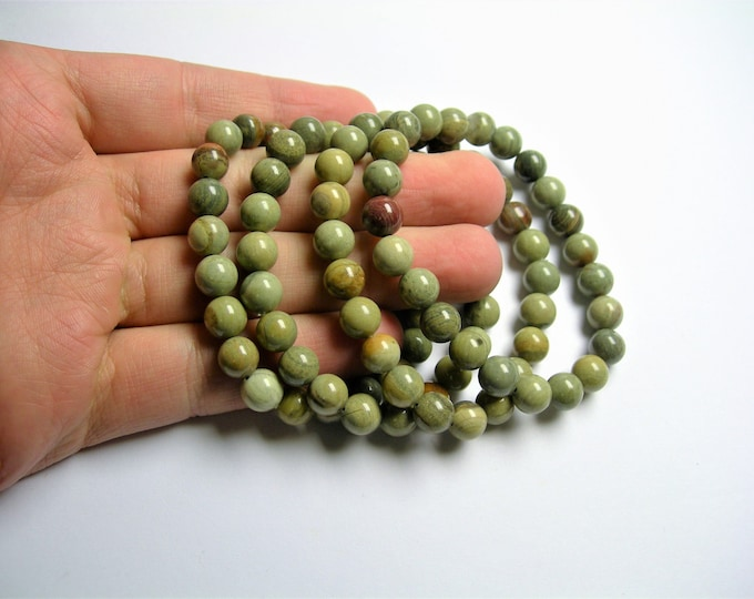 Silver mist Jasper - 1 set - 8mm  - 23 beads - A quality - HSG31