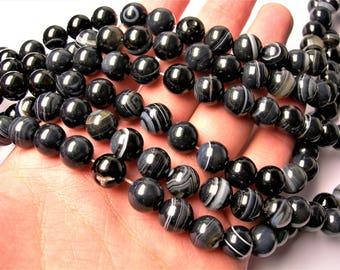 Sardonyx Agate 10mm  round  beads - 1 full strand - 38 beads per strand - A quality - Black Sardonyx agate - RFG1510