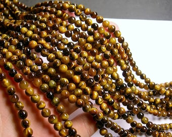 Tiger eyes - 6 mm round beads -1 full strand - 66 beads - RFG214