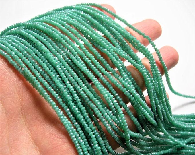 Crystal - rondelle  faceted 1mm x  2mm beads - 195 beads - amazon blue  - full strand - VSC35