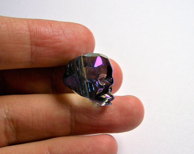 Crystal faceted skull - 1 pcs - 20mm - dark aurora mystic - SFB9