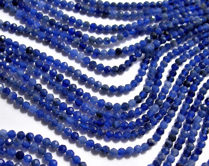 Sodalite - 2mm faceted round beads - 1 full strand  16 inch 40 cm - 178 beads  - Micro Faceted - AA Quality - PG126