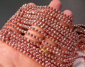 Hematite Rose Gold - 4 mm micro faceted beads - full strand - 103 beads - PG381
