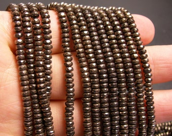 Hematite charcoal - 2x4mm faceted rondelle beads - full strand - 184 beads - A quality - PHG139