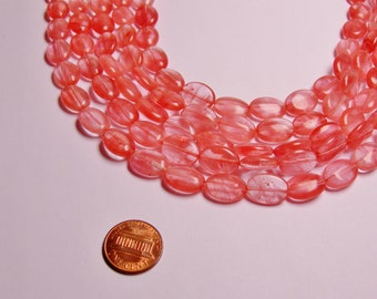 Cherry quartz oval bead full strand 28 beads 10mm by 13 mm - RFG972