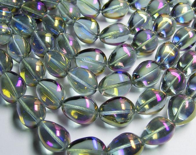 Crystal nugget - 18 pcs - 17mm x 14mm - tear drop nugget - mystic grey aurora - ab - CRV46