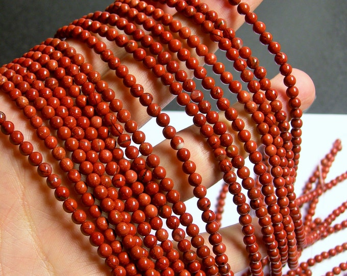 Red Jasper - 4mm round beads -1 full strand - 100 beads - RFG479