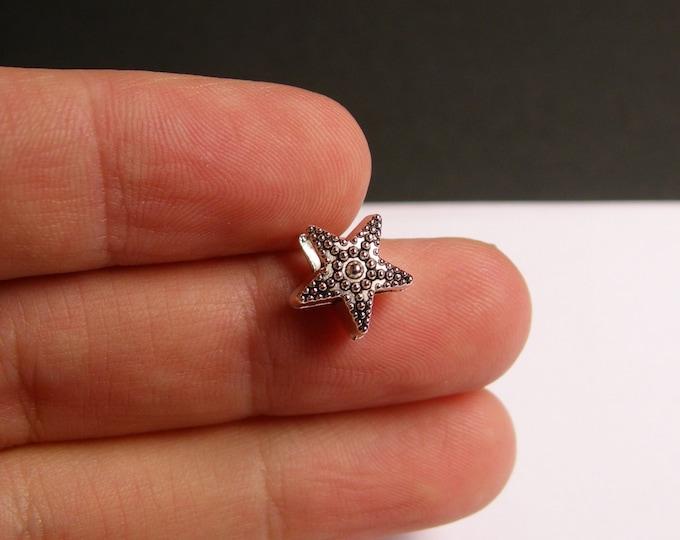 12  star beads - silver tone star beads - 12 pcs - big hole - bracelet beads - ASA44