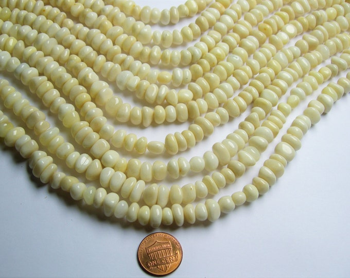 White  Jade - rounded chip nugget - full strand -  White Jade - PSC286