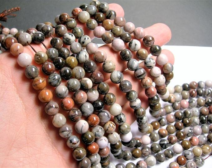 Petrified wood - 8mm round beads -1 full strand - 49 beads - aa quality - RFG572