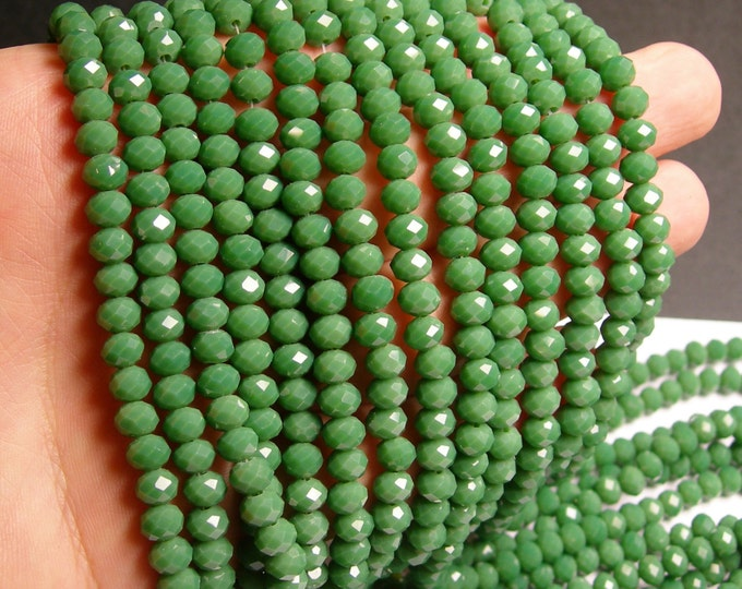 Crystal faceted rondelle - 88 beads - 6 mm - A quality -  green - full strand - DAC52