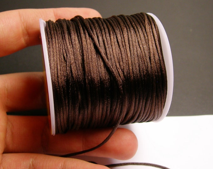 Satin Rattail Cord - knotting/beading cord -1.5mm - 65 meter - 213 foot - brown - SSC31
