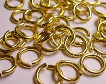 Jump rings - Gold - 100 pcs - 12 mm diameter - 1.7 mm tick - aluminum jump rings