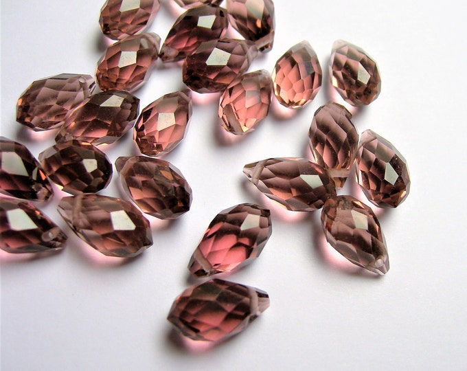 Faceted teardrop crystal briolette beads - 25 pcs - 13mm x 8mm - top sideways drill - purple - CRTD12