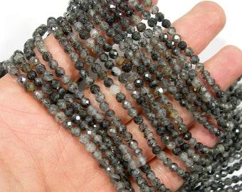 Black rutilated quartz - 4mm faceted round beads -  full strand - 100 beads - Black rutilated quartz - A Quality - PG308