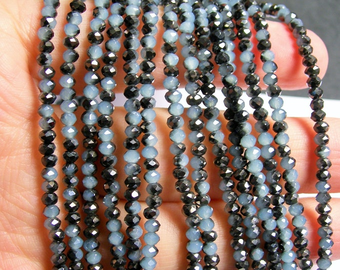 Crystal - rondelle faceted 3.5mm x 2.5mm beads - 144 beads -  dual tone black blue - full strand - CRV67