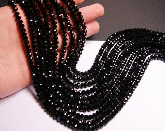 Crystal faceted rondelle -  100 pcs -  6 mm - black - full strand - CRV114