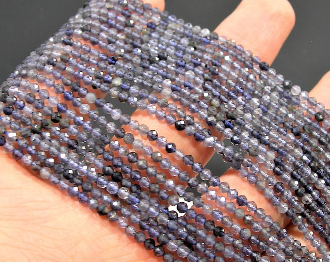 Iolite - 2.4mm micro faceted round beads - 1 full strand - 154 beads - A quality - Iolite gemstone - PG205