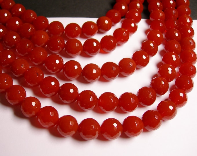 Carnelian - 12mm faceted -  full strand - 33 beads - full strand  - AA quality
