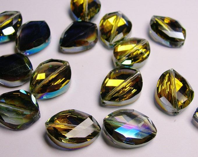 Crystal faceted oval beads 8 pcs 20mm by 18mm AA quality - sparkle olive green mix with dark citrine yellow