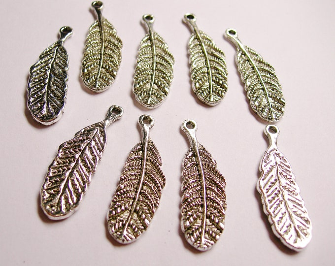 10 pcs silver feather charms - ZAS87