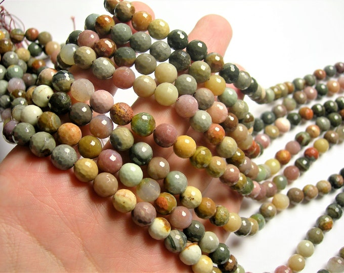 Polychrome jasper - 8 mm faceted round beads - full strand - 48 beads - AA quality - RFG1183