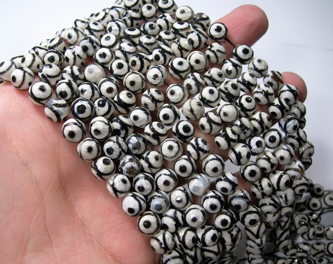 Tibetan Agate 8mm faceted round beads - full strand - 48 beads - Black in White Dzi beads - RFG1675