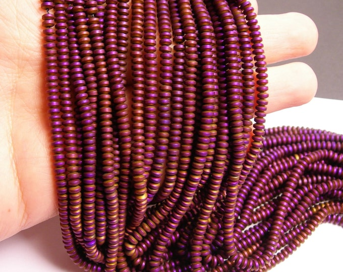 Hematite purple  - 4mm rondelle beads - full strand - 185 beads - A quality - matte -  PHG121