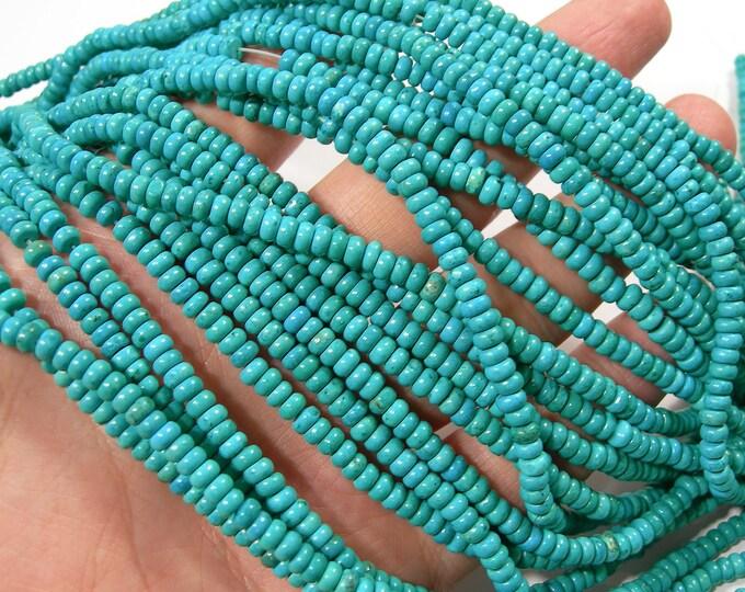 Howlite turquoise - 4mm rondelle beads - 1 full strand - 157 beads - RFG366