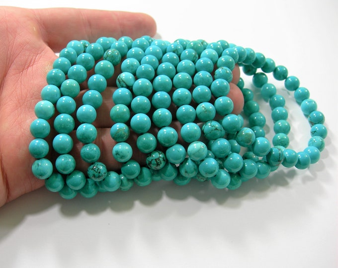 Howlite turquoise - 8mm round beads - 23 beads - 1 set - A quality - HSG215