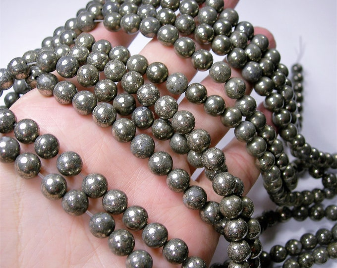 Pyrite - 8 mm round beads -1 full strand - 47 beads - RFG358