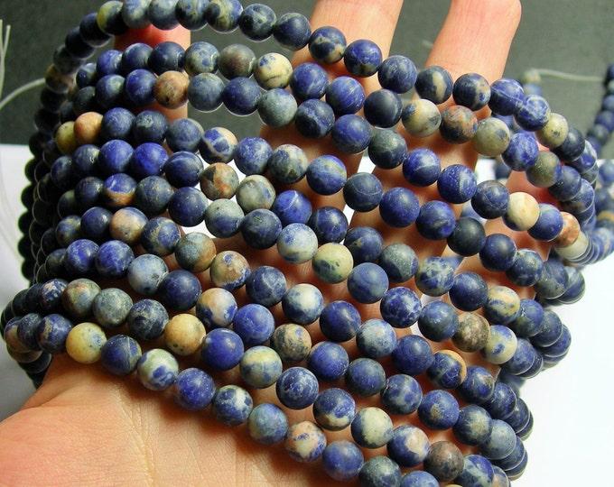 Sodalite matte - 8 mm round beads - 1 full strand - 50 beads - light orange inclusion - RFG895