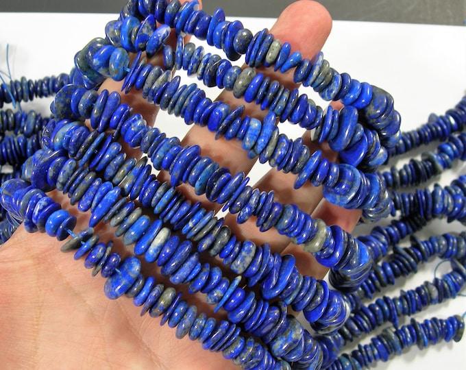 Lapis lazuli - full strand - pebble disc - rounded chip stone - 9mm - 13mm - RFG1746