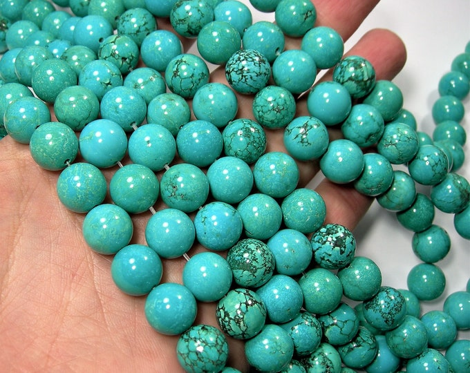 Howlite turquoise - 12mm round beads - 1 full strand - 33 beads - RFG273